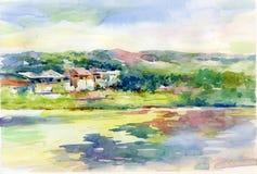 Pintura de la acuarela del paisaje Imagen de archivo libre de regalías