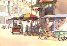 Pintura de la acuarela del paisaje de la ciudad Imagen de archivo libre de regalías