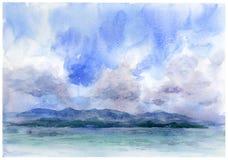 Pintura de la acuarela del paisaje marino Foto de archivo
