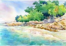 Pintura de la acuarela del paisaje marino Fotografía de archivo libre de regalías