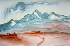Pintura de la acuarela del paisaje de la montaña imágenes de archivo libres de regalías