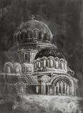 Pintura de la acuarela del templo viejo Imágenes de archivo libres de regalías