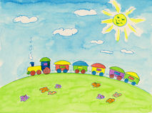 Pintura de la acuarela del tren del juguete libre illustration