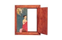 Pintura de la acuarela en un marco de madera Imagen de archivo libre de regalías