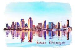 Pintura de la acuarela de la fotografía de San Diego Skyline en la puesta del sol de Coronado fotos de archivo libres de regalías