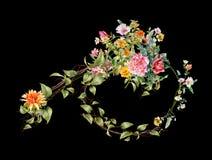 Pintura de la acuarela de hojas y de la flor, en fondo oscuro Imagen de archivo libre de regalías