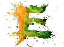 Pintura de la acuarela - letra E Imagenes de archivo