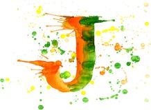 Pintura de la acuarela - letra J Imagen de archivo libre de regalías