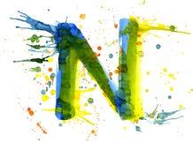 Pintura de la acuarela - letra N ilustración del vector