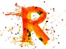 Pintura de la acuarela - letra R ilustración del vector