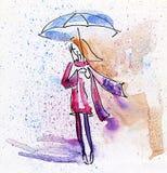 Pintura de la acuarela. Muchacha del otoño en la lluvia. Imagen de archivo libre de regalías