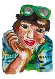 Pintura de la acuarela de la mujer bronceada de la piel que se sienta, sonriendo y mirando fijamente a la cámara, muchacha encant ilustración del vector