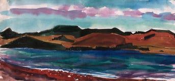 Pintura de la acuarela, paisaje, Fotos de archivo libres de regalías