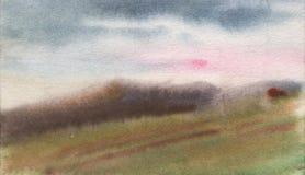 Pintura de la acuarela, paisaje Fotos de archivo libres de regalías