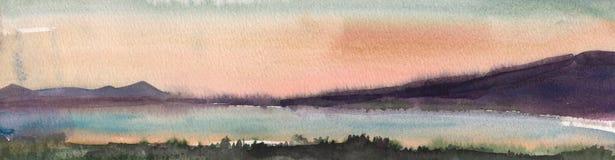 Pintura de la acuarela, paisaje, puesta del sol Fotos de archivo libres de regalías