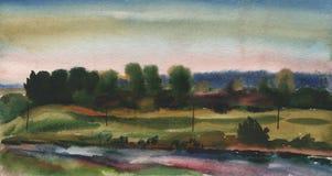 Pintura de la acuarela, paisaje, puesta del sol Río, lago, charca del bosque en el fondo del cielo de la tarde Foto de archivo