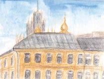 Pintura de la acuarela Paisaje urbano europeo tradicional Calle vieja de la ciudad con la iglesia Ejemplo dibujado mano del bosqu stock de ilustración