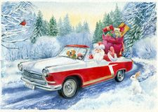 Pintura de la acuarela Postal a mano de la Navidad del vintage Foto de archivo