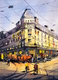 Pintura de la acuarela - Street View de París stock de ilustración