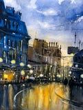 Pintura de la acuarela - Street View de París libre illustration