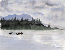 Pintura de la acuarela y de la tinta Imagen de archivo libre de regalías
