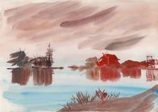 Pintura de la acuarela y de la tinta Imágenes de archivo libres de regalías