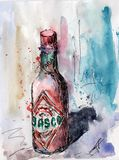Pintura de la acuarela y de la tinta Foto de archivo libre de regalías