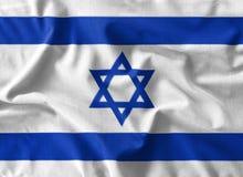 Pintura de la bandera de Israel sobre el alto detalle de las telas de algodón de la onda ilustración del vector