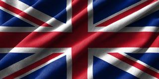 Pintura de la bandera de Reino Unido sobre el alto detalle de las telas de algodón de la onda ilustración del vector