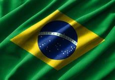 Pintura de la bandera del Brasil sobre el alto detalle de las telas de algodón de la onda libre illustration