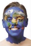 Pintura de la cara - correspondencia de mundo Fotos de archivo