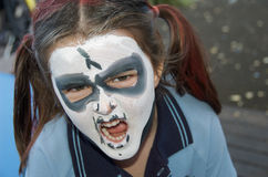 Pintura de la cara de Víspera de Todos los Santos Fotos de archivo