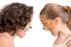 Pintura de la cara, felines Imagen de archivo libre de regalías
