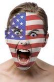 Pintura de la cara: indicador americano Fotografía de archivo