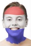 Pintura de la cara - indicador de Holanda Fotos de archivo