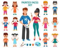 Pintura de la cara para los niños fijados stock de ilustración