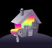 Pintura de la casa y del arco iris Fotos de archivo libres de regalías