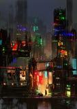 Pintura de la ciudad de la noche Foto de archivo libre de regalías