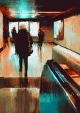 Pintura de la gente que camina Fotografía de archivo libre de regalías