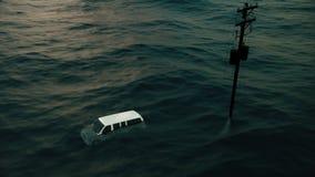 Pintura de la inundación después de un huracán libre illustration