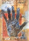 Pintura de la lectura de la palma con símbolos Imagen de archivo