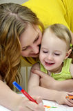 Pintura de la madre y del niño Fotografía de archivo libre de regalías