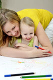 Pintura de la madre y del niño Fotos de archivo
