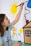 Pintura de la muchacha Imagen de archivo