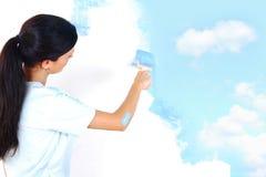 Pintura de la mujer en la pared Foto de archivo libre de regalías