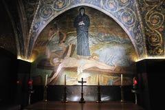 Pintura de la pared de Jesús crucificado Imágenes de archivo libres de regalías