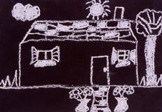 Pintura de la pizarra del niño Fotografía de archivo