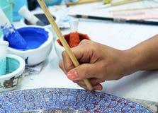 Pintura de la porcelana Fotos de archivo libres de regalías
