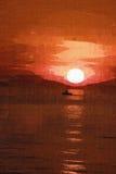 Pintura de la puesta del sol foto de archivo libre de regalías