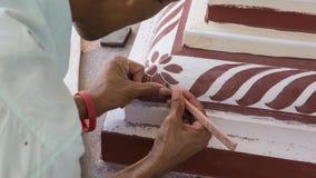 Pintura de la reconstrucción del templo Templo principal indio de la pintura Fotos de archivo